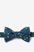 Navy Blue Silk Shamrock'd Butterfly Bow Tie