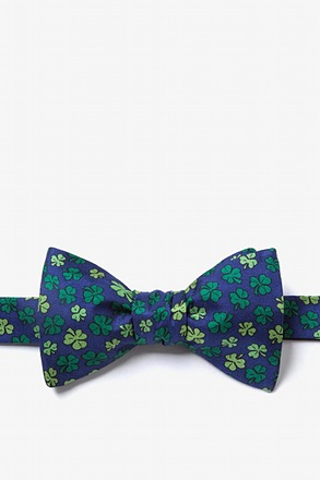 Shamrock Navy Blue Self-Tie Bow Tie