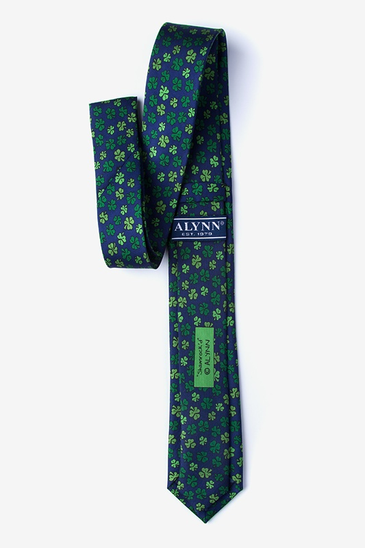 Shamrock Navy Blue Skinny Tie Photo (1)