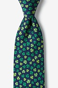Navy Blue Silk Shamrock Tie