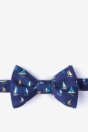 Smooth Sailing Navy Blue Self-Tie Bow Tie