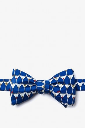 Stack of Martinis Navy Blue Self-Tie Bow Tie