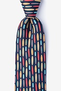 Navy Blue Silk Surf's Up Extra Long Tie