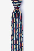 Navy Blue Silk Surf's Up Skinny Tie