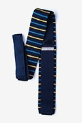 Swiss Stripe Navy Blue Knit Skinny Tie Photo (1)