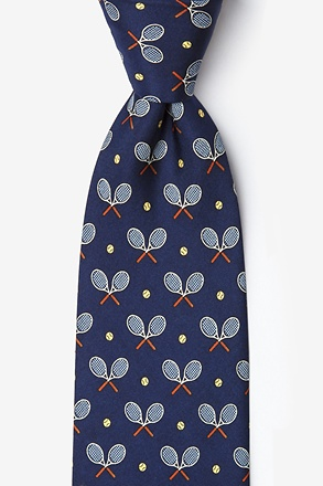 _Tennis Racquets Navy Blue Tie_