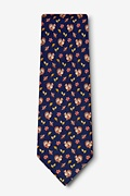 Thanksgiving Turkey Navy Blue Tie Photo (1)