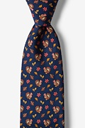 Thanksgiving Turkey Navy Blue Tie Photo (0)