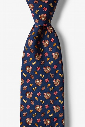 Thanksgiving Turkey Navy Blue Tie