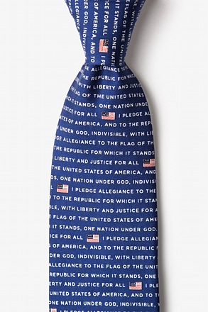 _The Pledge Of Allegiance Navy Blue Extra Long Tie_