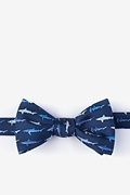 Totally Jaw-some Navy Blue Self-Tie Bow Tie Photo (0)