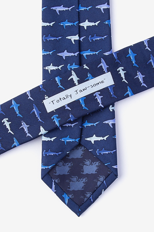 Totally Jaw-some Navy Blue Skinny Tie Photo (2)