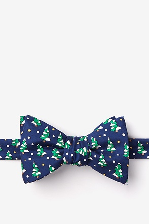 Tree-mendous Navy Blue Self-Tie Bow Tie