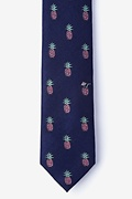 Navy Blue Silk Tropic Like It's Hot Skinny Tie