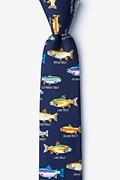 Navy Blue Silk Trout Family Skinny Tie