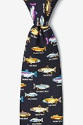 Navy Blue Silk Trout Family Tie