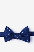 Navy Blue Silk Tully Self-Tie Bow Tie