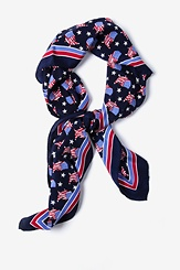 Navy Blue Silk U!S!A! Square Scarf