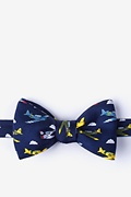 Navy Blue Silk Warbirds Self-Tie Bow Tie