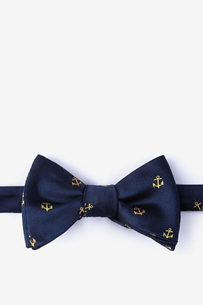 What's the hold up Navy Blue Self-Tie Bow Tie