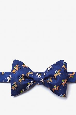 Win, Place, Show Navy Blue Self-Tie Bow Tie