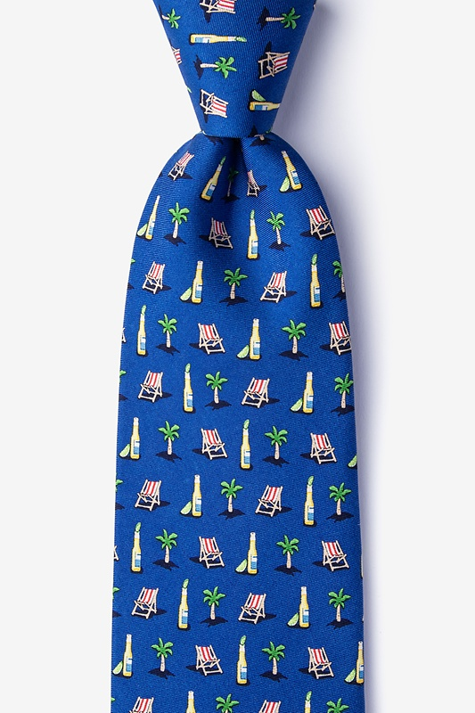 Wish You Were Beer Navy Blue Extra Long Tie Photo (0)