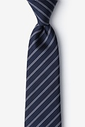 Navy Blue Silk Yapen Extra Long Tie
