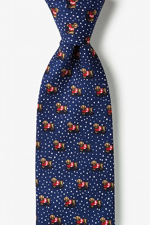 _Yappy Howlidays Navy Blue Extra Long Tie_