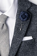 Navy Blue Wool Felt Rose Lapel Pin