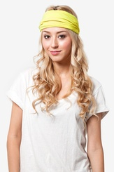 Neon Yellow Polyester Basic Stretchy Headband