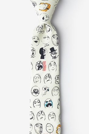 _Rage Face Off White Skinny Tie_