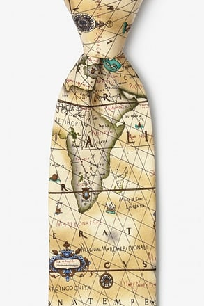 Ancient Art Of Portugal Map Tie