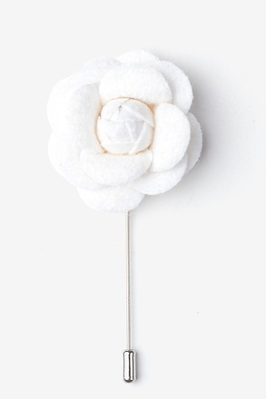 Off White Wool Felt Rose Lapel Pin