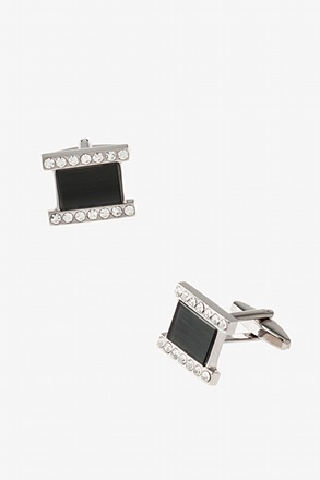Solid Bejeweled Square Cufflinks