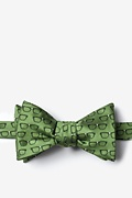 Olive Microfiber Four Eyes Bow Tie