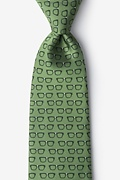 Olive Microfiber Four Eyes Tie