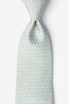 Small Anchors Olive Extra Long Tie
