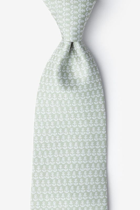 Small Anchors Olive Extra Long Tie Photo (0)