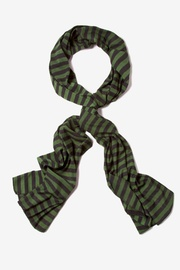 Olive Polyester Traveling Stripe Scarf