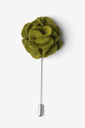 _Olive Wool Felt Flower Lapel Pin_
