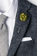 Olive Wool Felt Flower Lapel Pin