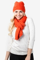 Orange Acrylic Basketweave Scarf And Hat Set