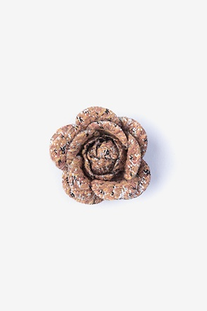 _Boucle Tweed Flower Orange Lapel Pin_