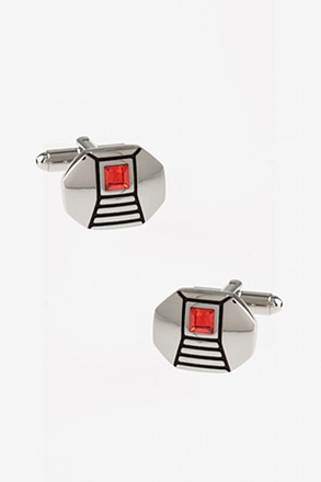 Fancy Wide Octagon Orange Cufflinks