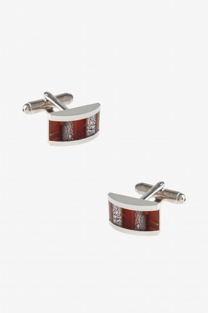 Fiery Striped Rectangle Cufflinks