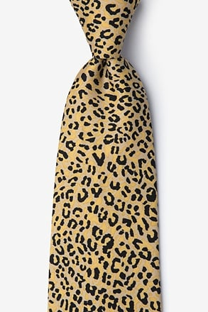 _Cheetah Animal Print Orange Tie_