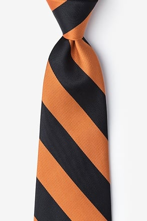 _Orange & Black Stripe Extra Long Tie_