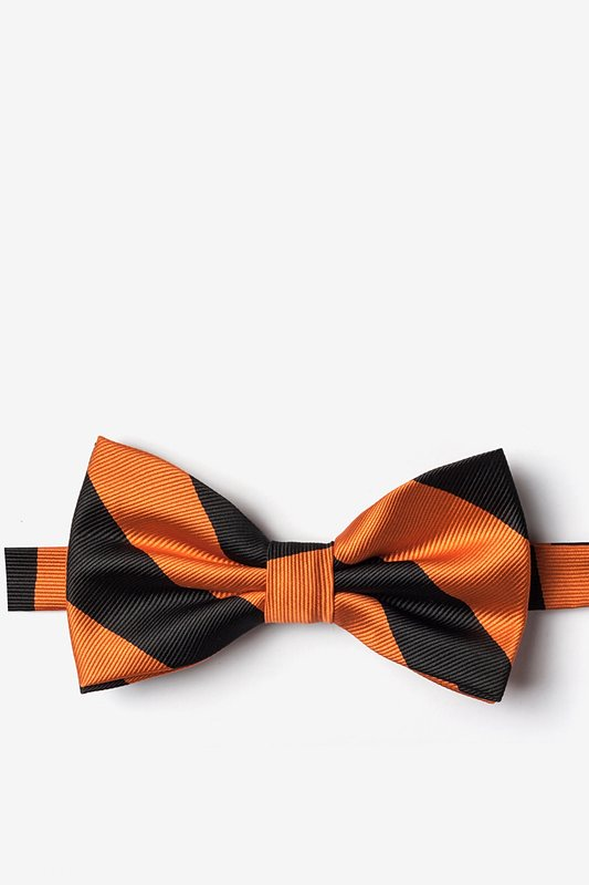 Orange & Black Stripe Pre-Tied Bow Tie Photo (0)