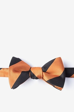 _Orange & Black Stripe Self-Tie Bow Tie_