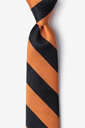 _Orange & Black Stripe Tie For Boys_